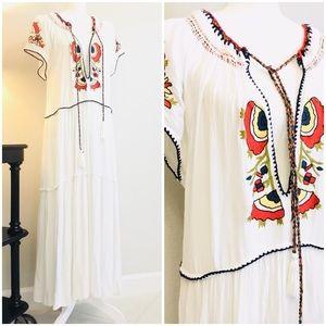 Free People embroidery  flowy maxi dress boho